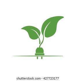electric plug, ecology green icons set on white background