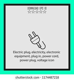Electric plug, electricty, power cord  line icon