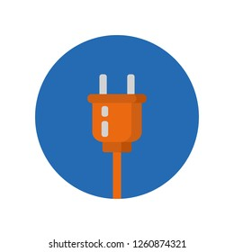 Electric plug flat icon isolated on blue background. Simple sign symbol in flat style. AC power plug Vector illustration for web and mobile design.