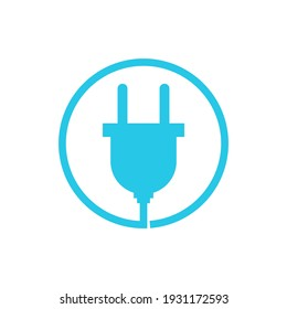 Electric plug icon with cable. Vector isolated illustration on white background.