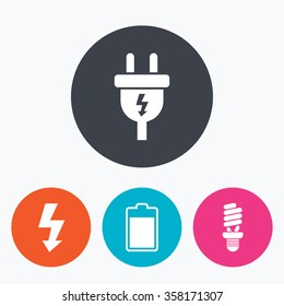 Electric plug icon. Fluorescent lamp and battery symbols. Low electricity and idea signs. Circle flat buttons with icon.