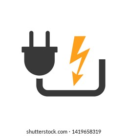 Electric plug icon sign with cord – stock vector