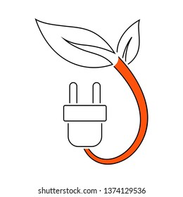 Electric Plug With Leaves Icon. Thin Line With Red Fill Design. Vector Illustration.