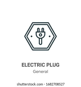 Electric plug outline vector icon. Thin line black electric plug icon, flat vector simple element illustration from editable general concept isolated stroke on white background