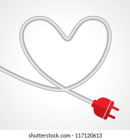 electric plug in the shape of heart