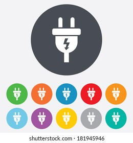 Electric plug sign icon. Power energy symbol. Lightning sign. Round colourful 11 buttons. Vector