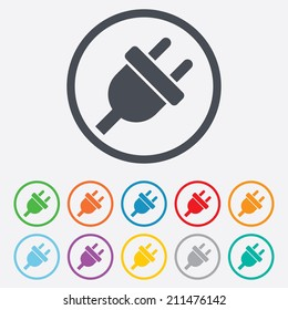 Electric plug sign icon. Power energy symbol. Round circle buttons with frame. Vector