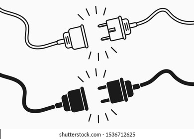 Electric plug and socket. 404 error concept, set of flat and line design elements for disconnect web page. Unplugged electric plug with wire cable and socket illustration. Vector.