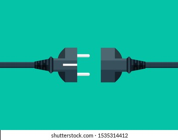 Electric plug and socket disconnect. Concept of 404 error connection. Electric plug icon and outlet socket unplugged, flat page.Circuit of plug connect off. Wire, cable of energy disconnect. vector
