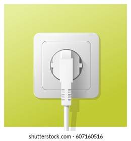 Electric plug and socket on green wall background , vector , illustration