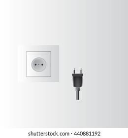 electric plug, socket type C Use in Austria, Belgium, Brazil, Chile, Colombia, Finland, Croatia, Germany, Greece, India, Italy , Maldives, Portugal, Russia, Spain, Sweden, Turkey,  vector illustration