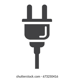 Electric plug solid icon, power and appliance, vector graphics, a glyph pattern on a white background, eps 10.