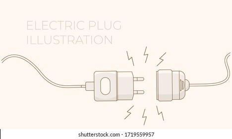 Electric plug. Vector flat outline illustration. Concept background plug and socket unplugged with lightning. Template for website technical page or web banner