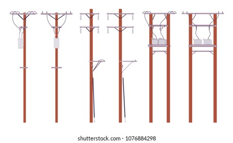 Electric poles set. Utility wires for electrical power distribution in city, cable television and telephone. Landscape architecture and urban design concept. Vector flat style cartoon illustration