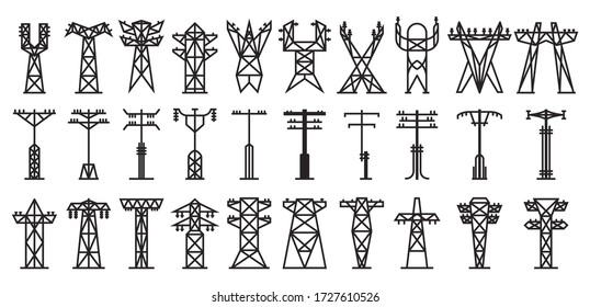 Electric poles vector black set icon. Vector illustration electrical pillar on white background. Isolated black set icon electric poles.