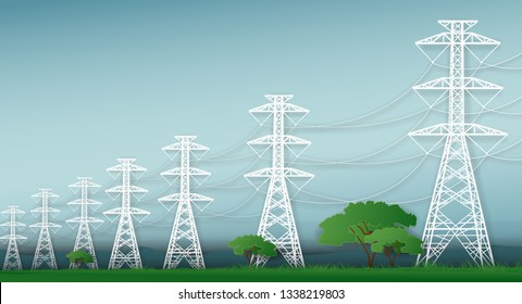 Electric post and landscape graphic vector