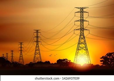 Electric post and landscape scenery graphic vector