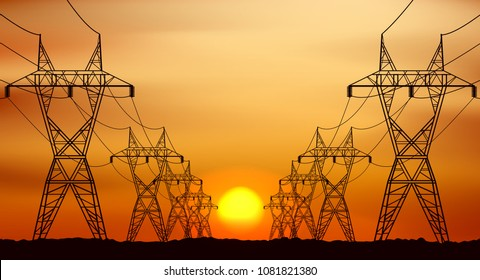 Electric post and sunrise in morning graphic vector