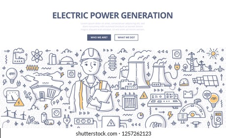 Electric power generation doodle concept. Electrical engineer in helmet with clipboard at work. Hand drawn illustration for web banner, hero images and printing materials