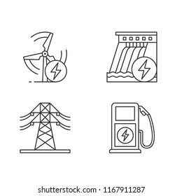 Electric power industry linear icons set. High voltage electric line, wind and water energy, electric vehicle charging station. Isolated vector outline illustrations. Editable stroke