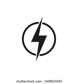 Electric power, lightning icon.  Lightning bolt sign in the circle. Vector illustration. Isolated.