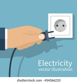 Electric power plug holding in hand. Unplug, plugged in wall socket. Vector illustration flat design. Connecting power plug.