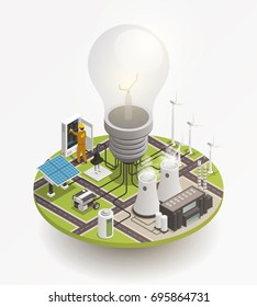 Electric power production and consumption isometric composition with windmill solar cell panels and enormous light bulb vector illustration