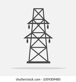 electric power tower vector icon industrial power supple