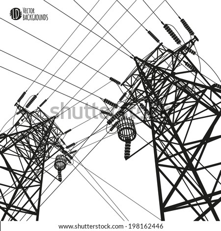 Electric Power Transmission Tower Vector Illustration Stock Vector