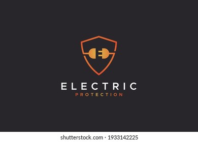 Electric Protection Logo. Yellow Red Gradient Shield Line with Wire and Plug Icons Combination including Negative Space E Letter inside. Flat Vector Logo Design Template Element for Electricity Logos.
