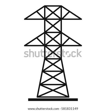 Electric Pylon Icon Simple Illustration Electric Stock Vector