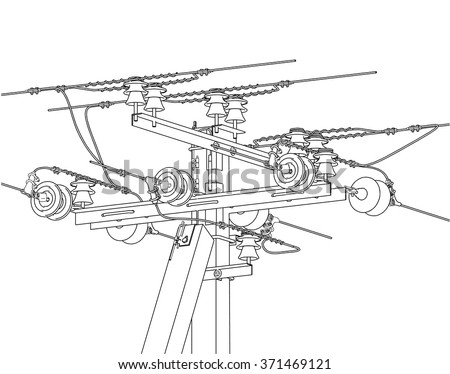 Electric Pylons Power Line Detailed Vector Stock Vector Royalty