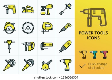 Electric rapair power tools colored icons set. Set of yellow power tools for building and construction work vector icon