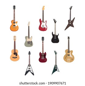 electric rock guitar, acoustic jazz and metal strings music instruments vector illustration