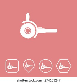 Electric Saw Icon on Flat UI Colors with Different Shapes. Eps-10.