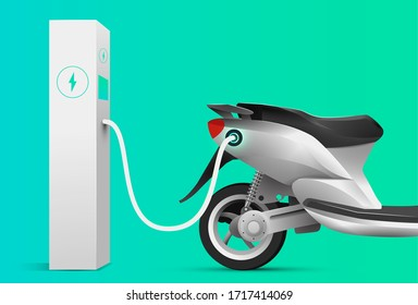 Electric scooter charging at charge station. Electric vehicle concept. Vector illustration.
