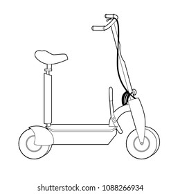 Electric Scooter line icon, Wheel Scooter
