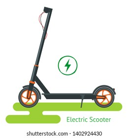 Electric Scooter on the road. Electric scooter transportation you can rent for a quick ride. Eco city transport.