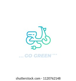 electric scooter vector logo, line icon on white