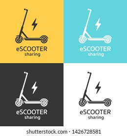 Electric scooters sharing icon concept. Vector illustration of a scooter and energy symbol in black and white colors, isolated on different color backgrounds.