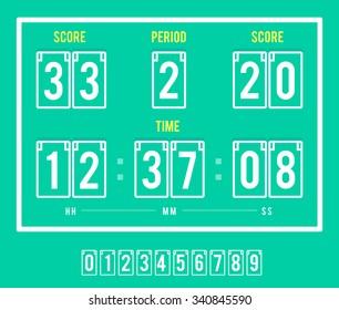 Electric scoreboard template. Vector info screen template and design elements set. Good for transport halls, airport, any arrival and departing stations and terminals.