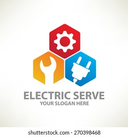 Electric serve logo template, clean vector