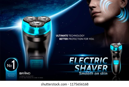 Electric shaver ads with handsome men on space earth background in 3d illustration
