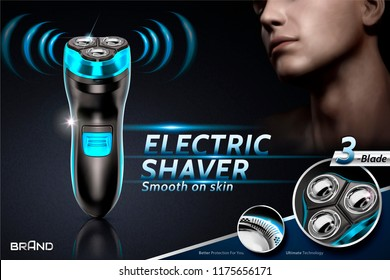 Electric shaver ads with handsome men in 3d illustration