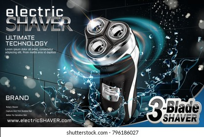 Electric shaver ads with splashing water and light effect in 3d illustration