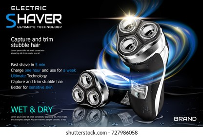 Electric shaver ads, shaver with speed glowing lights effect and isolated on wet puddle, 3d illustration