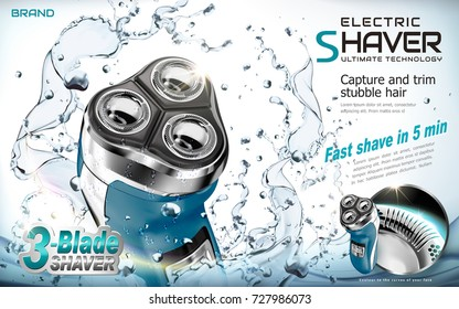 Electric shaver ads, shaver with splashing water and glowing lights in 3d illustration