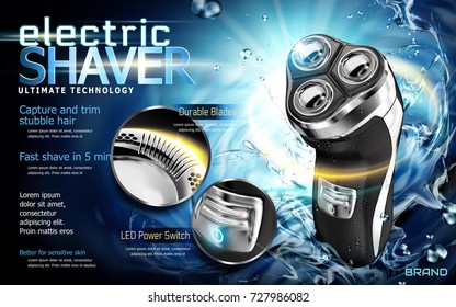 Electric shaver ads, shaver with splashing water and glowing lights, close up look at detailed part in 3d illustration
