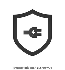 Electric Shield Icon Logo Design Element with charging device plug. vector illustration isolated on white background.