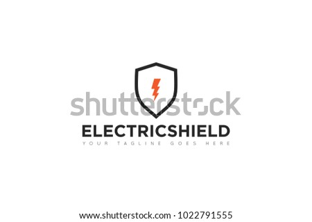 electric shield logo icon vector design stock vector (royalty free